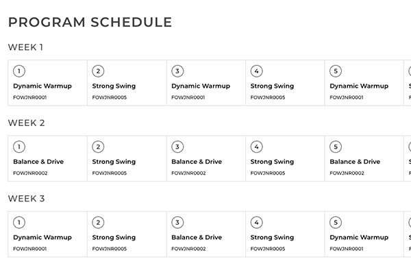Fitness Training Calendar